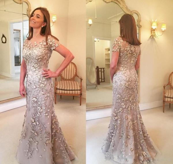 Elegante Champagne Vestidos para madre de la novia Mangas cortas Encaje Largo Palanca formal Bodas Invitados Invitados Vestidos Vestido de noche de talla grande