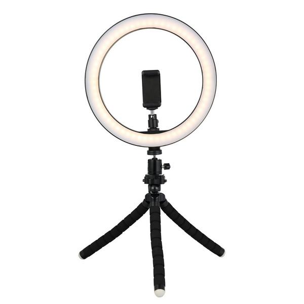 Mini Tripod ile Tycipy 26cm Selfie'nin LED Halka Işık XS MAX 8 7 6 Plus akıllı telefon Fotoğrafçılık Makyaj İçin Telefon Tutucu Stand
