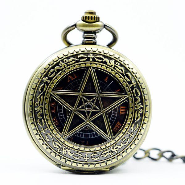 Retro Watch Steampunk Skeleton Mechanical Fob Pocket Watch Pendant Hand-winding Roman Number Clock Men Women Chain PJX1225