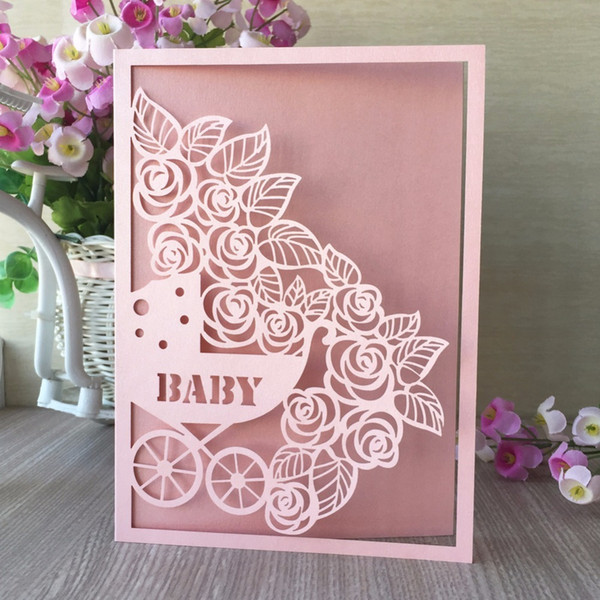 Laser Cut Baby Shower Invitation Cards Sweet Birthday Party Decorations Greeting Blessing Cards T8190617 Online Cards Online Christmas Card From