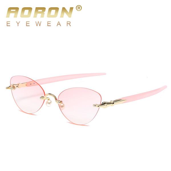 Großhandel randlose sonnenbrille frauen mode vintage cat sonnenbrille weibliche markendesigner gradienten ozean punkte retro shades eyewear