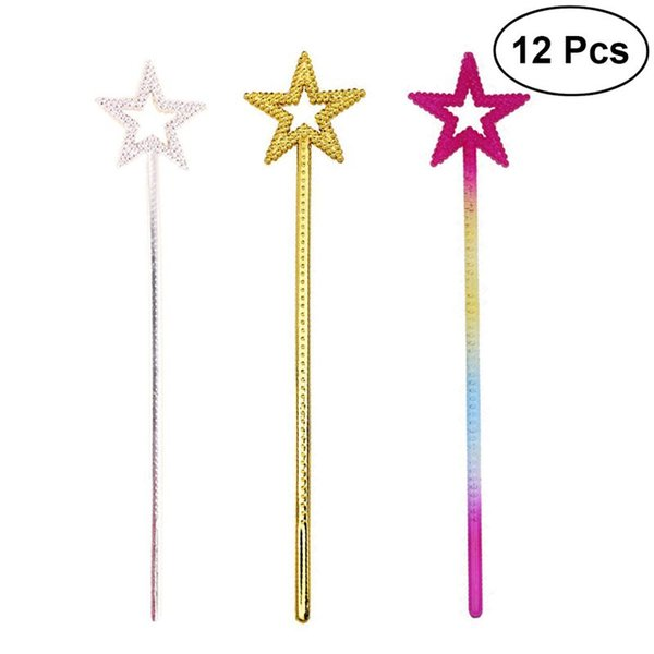 12pcs Mini Fairy Star Princess Wands Star Shape Wands With Beads For Kids Birthday Halloween Cosplay Party Decoration Supplies