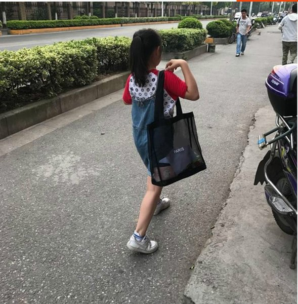 9610e152df3e Hot sale !2019 Classic white logo shopping mesh Bag luxury pattern Travel Bag  Women Wash
