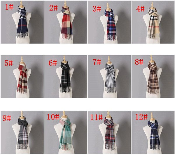 top popular Winter Scarf imitation cashmere plaid Warm Scarf Scarves Female Shawls Tassel Ladies Winter plaid Women Scarf LJJK1845 2021