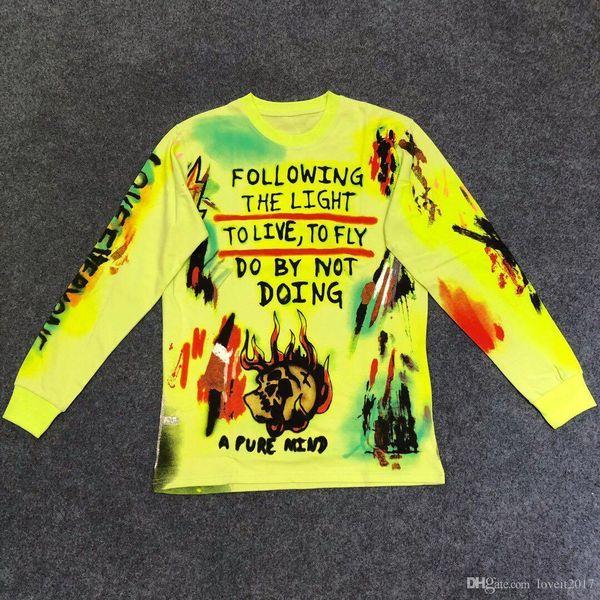 2019 New Kanye Season6 Wes Lang Skeleton Tee Graffiti Camiseta de manga larga Hombres S y Mujeres S Camiseta de cuello redondo Camisa de fondo