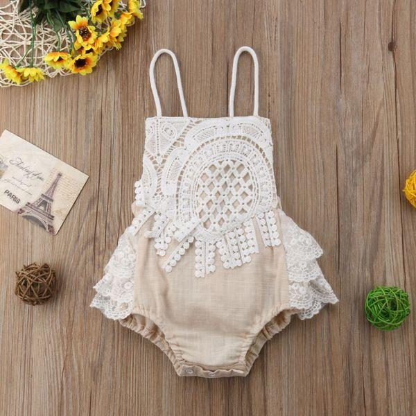 INS Baby Girls encaje mameluco del cordón del verano ahueca hacia fuera la correa de espagueti infantil mono moda algodón princesa niño onesie Y1279