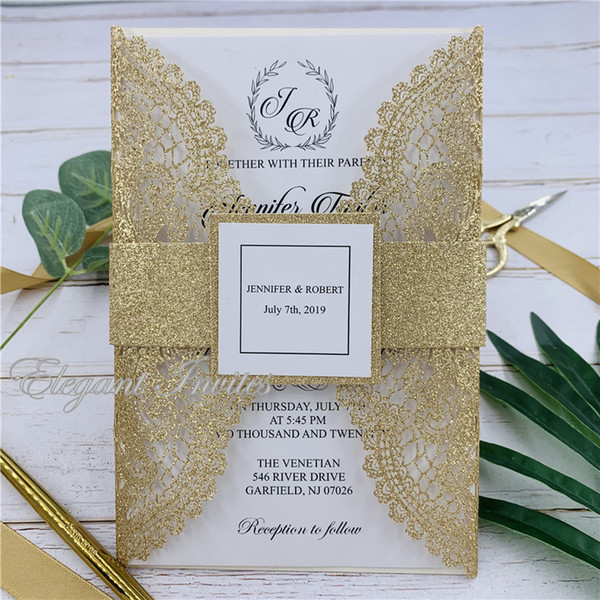 New Glitter Laser Cut Wedding Invitations Cards Set Customize Business Invites Rsvp Cards Party Supplies Cheap Diy Wedding Invitations Cheap Wedding