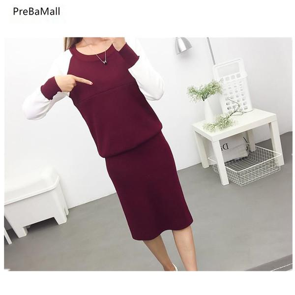Vestiti di maternità infermieristica 2019 maglione di primavera vestiti per l'allattamento al seno per le donne incinte coreano incinta dress jacket + gonna B0634