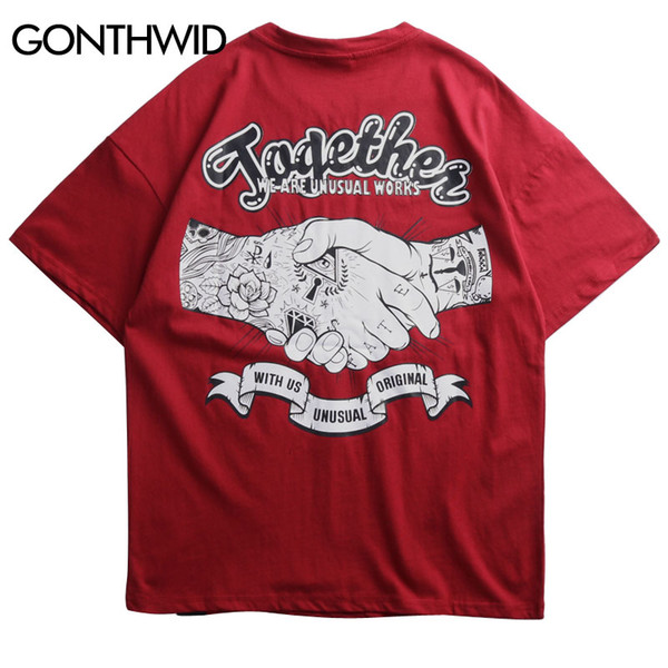 GONTHWID Creative Tattoo Hands Streetwear T Shirts Mens 2019 Hip Hop Casual Printed Short Sleeve Tops Tees Male Fashion Tshirts
