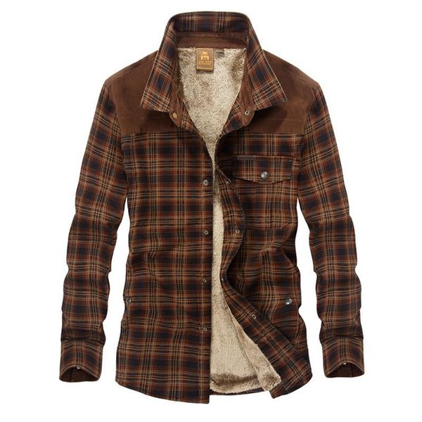 Afs Jeep Military Shirt Men Casual Shirts Cotton Winter Wool Thick Warm Shirts Plaid Fleece Camisa Masculina Chemise Homme