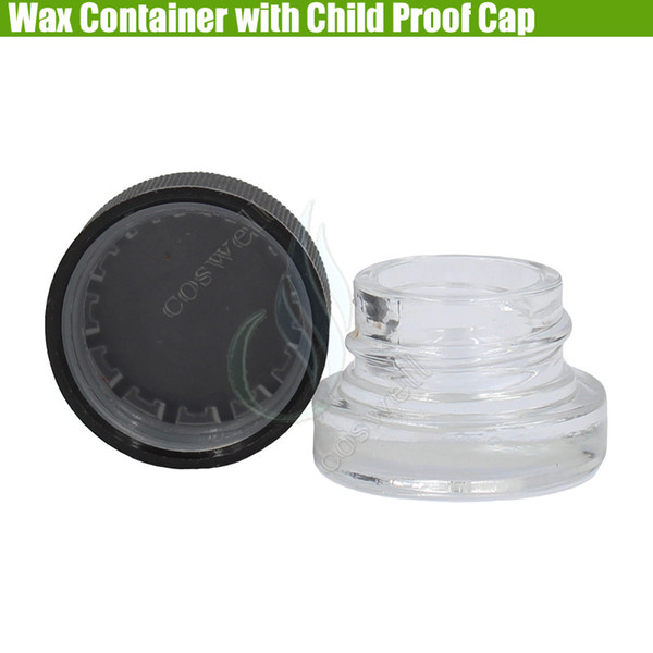 Pyrex Wax Container Child Proof Cap Cover Dab Glass Jars 5ml Dry Herb Herbal Non-Stick Concentrate Waxy Food Grade Bottle Vaporizers Dabber