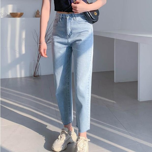 Summer 2019 new 9-cent skinny jeans baggy straight leg high-waisted