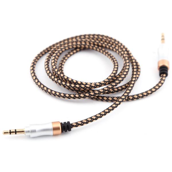 Позолоченный 3,5 мм Мужской до 3,5 мм мужской аудио AUX кабель Atereo разъем 3.3 FT аудио удлинитель для iPod MP3 автомобильный телевизор ПК Бесплатная доставка