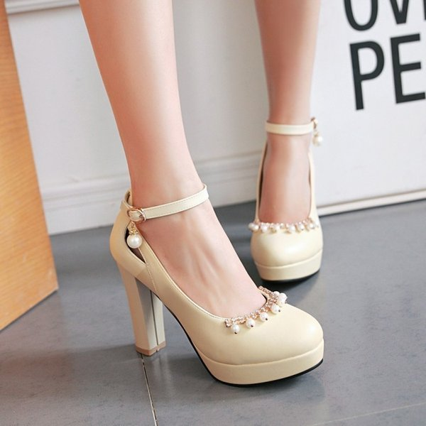 Hot2019 High Jicu With A String Of Beads Women's Shoes Will 4243 Code Single Shoe