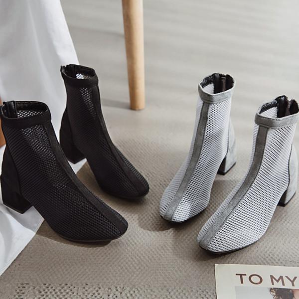 Bayan ayakkabıları 2019 bahar yeni avrupa mal örgü nefes fermuar kalın sandalet çizmeler