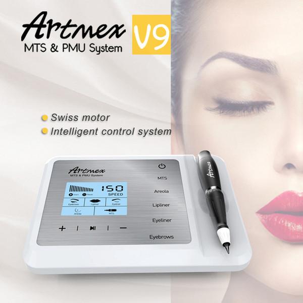 Machine de maquillage semi permanent Artmex V9 Kits de tatouage MTS Système PMU Derma Pen Stylo de tatouage pour les lèvres, sourcil 11 vitesses