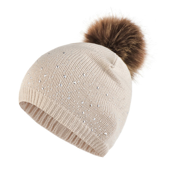 women daily knitted hat warm rhinestone studded casual fashion plush ball hemming outdoor autumn winter elastic gifts windproof, Blue;gray