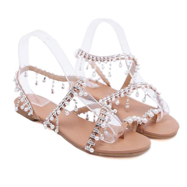 2019 Sandálias Das Mulheres Womens Sapatos de Strass Cordão Gladiador Sandálias Flat Cristal Chaussure Sandalias Plus Size 35-43