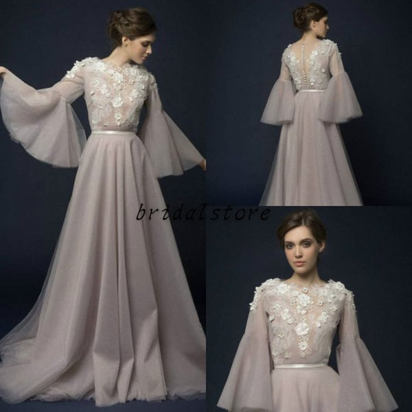 Fairy Illusion Prom Dresses Juliet Sleeve design Round Neck Hand Make Flower floral Formal Evening Gown For women Pageant party Button Back