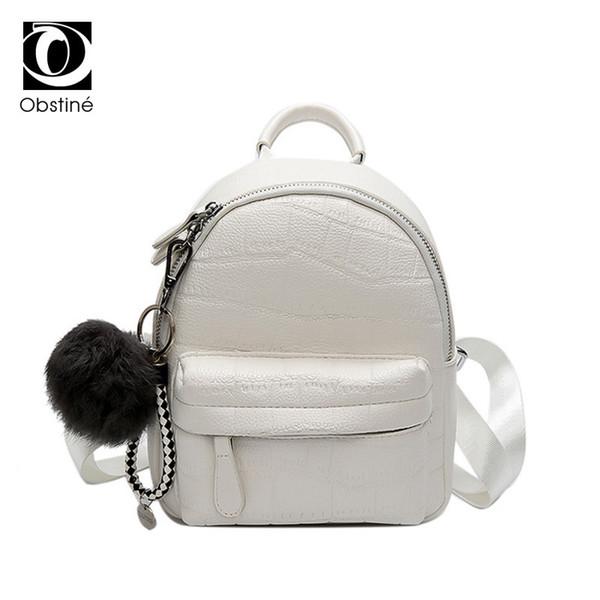 Mini Backpacks Women Pu Leather Cute Small Backpack Female White Back Pack Black Backpacks For Teen Girls Fashion Bagpack Woman Y19061004