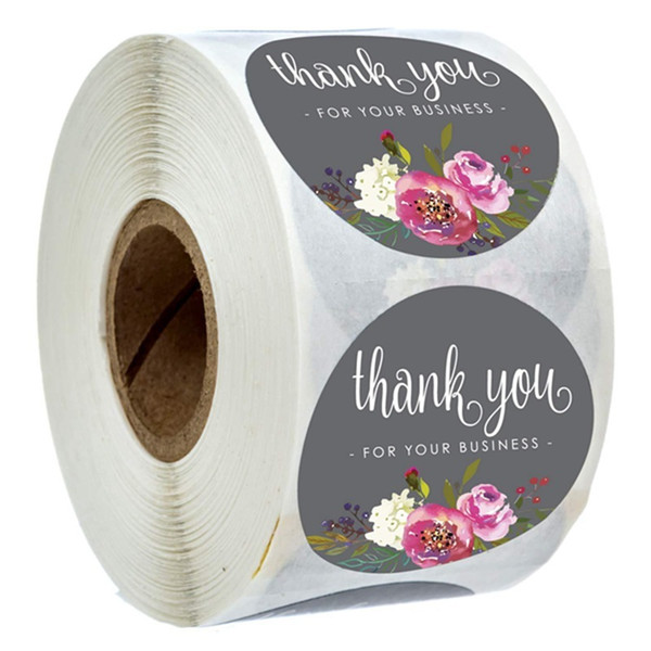 best selling Roll Floral Thank You Stickers Coated Paper Seal Label Stickers Handmade Craft Envelope Invitation Card thank you stickers