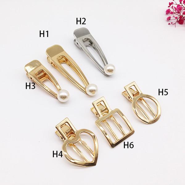 Fashion Woman Hair Accessories Vintage Pearl Hair Clips Matte Hollow Metal Geometric Hairpin Circle Hairgrip Barrette Girls