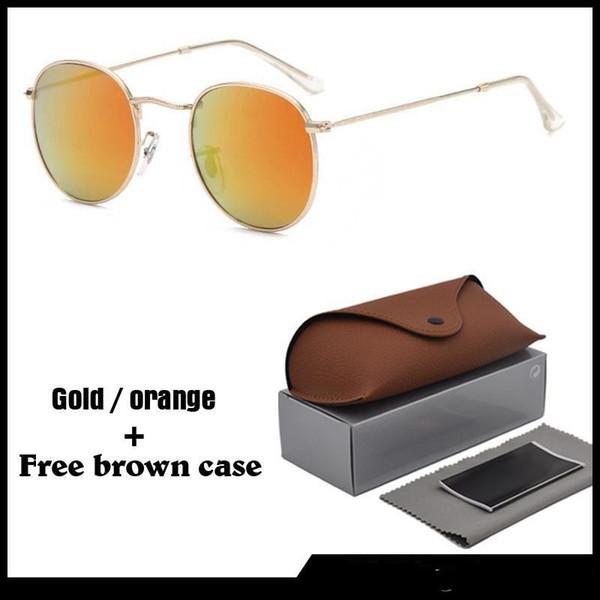 Eccellente qualità classici occhiali da sole rotondi per gli uomini le donne sole occhiali unisex Eyewear Maschile Oculos 13 colori tra cui scegliere, con casi brwon liberi