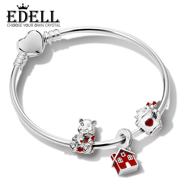 EDELL 100% 925 Sterling Silver Holiday Bracelet Set WARM COCOA CHARM CHRISTMAS BEAR CHARM COSY CHRISTMAS HOUSE HANGING