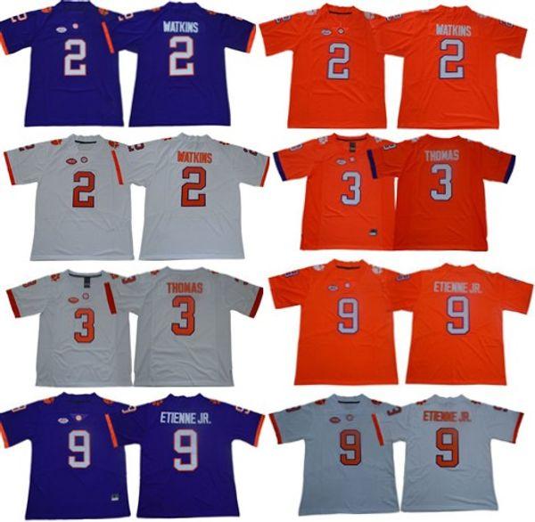 2019 Clemson Tigers 2 Sammy Watkins 3 Xavier Thomas 9 Travis Etienne Jr. College Stitched Football Jersey
