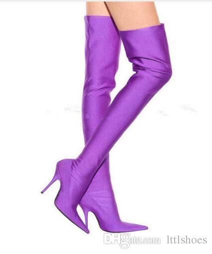 2018 Fashion Runway Stretch Sock Boots Pointed Toe Stiletto Heel Thigh High Over the Knee Boots Women Designer Shoes Sexy Long Boots