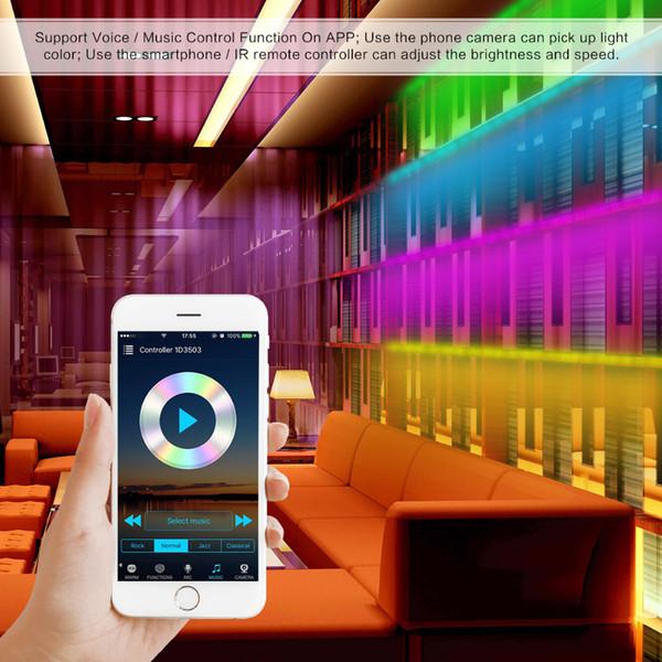 49.2ft 450 bandes Led 5050 RGB résine époxy IP65 imperméable à l'eau douce lumière bande avec wifi 24 support de contrôleur de clé téléphone mobile APP