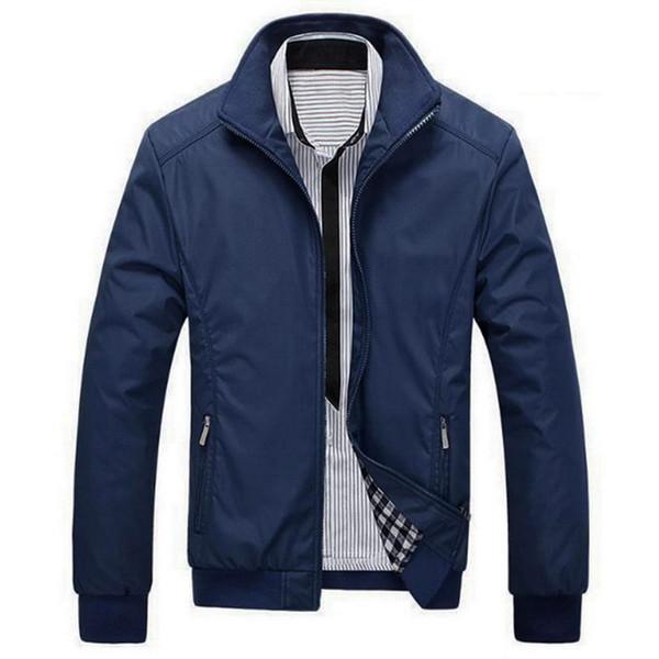 Vertvie 2019 New Men осенней куртки плюс размером твердого Bomber Jacket Мужской молния Карман Тонкой весна Верхней одежда Пальто Streetwear