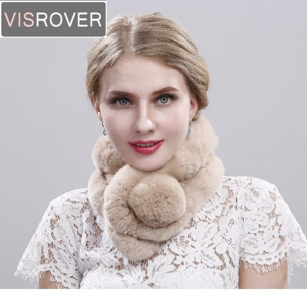 VISROVER New Real Natural Fur Collar Rex Rabbit Fur Winter Ring Scarf for Women Girl Warm Soft Brand Luxury Cute Pompon Scarves