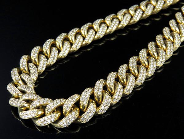 a1f7de93c735 Collar de cadena de diamantes genuinos de 12 mm de eslabones cubanos de oro  amarillo para
