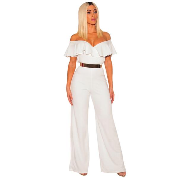 2019 nouvelle combinaison de haute qualité chaud sexy v-cou à volants Slim une pièce pantalon lâche parti barboteuses plus la taille du corps femme