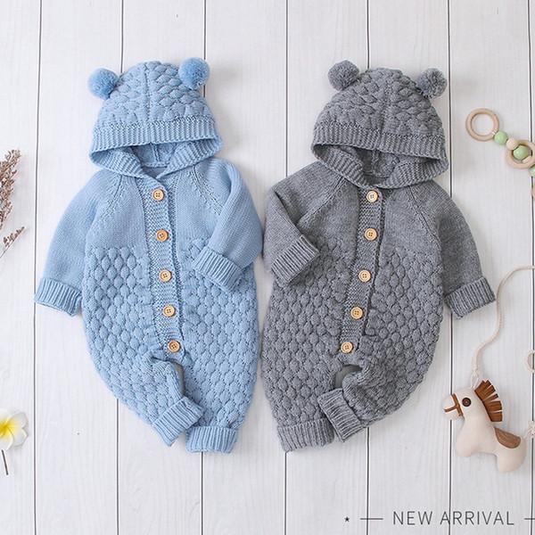 Bebek Örgü Tulum Karikatür Ayı Örme Erkek Tulumlar Uzun Kollu Toddler Kız Kazak Çocuk Kapüşonlu Genel 4 Renk Isteğe Bağlı DW4479