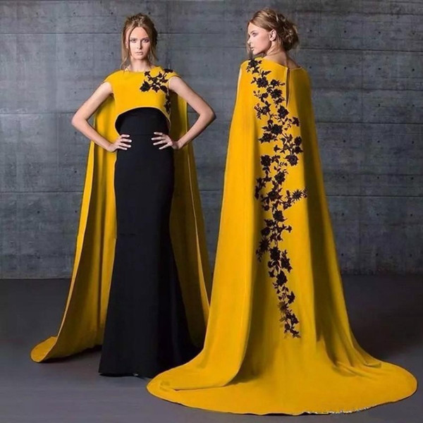 2019 Beautiful Arabic Style Evening Dresses with Cape Jewel Neck Fitted Mermaid Lace Appliqued Black and Yellow Dubai Evening Gown