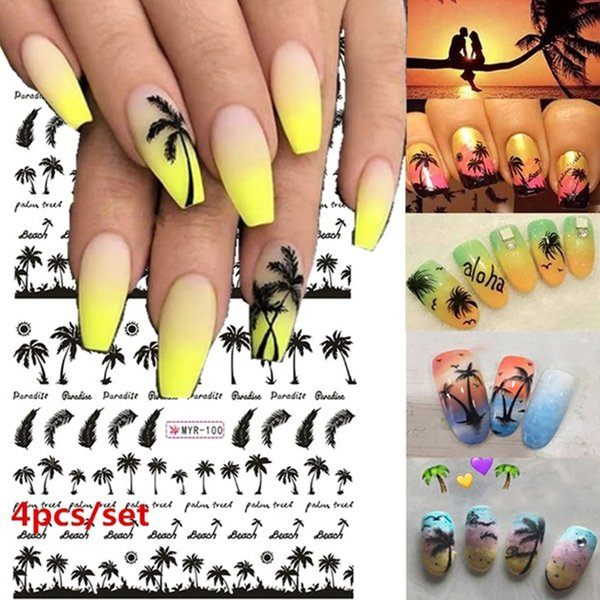 Palm Tree Nail Sticker Summer Super Ocean Wind Nail Foil Tropical Surf Beach Coconut Tree Style Sticker DIY Manicure Tool