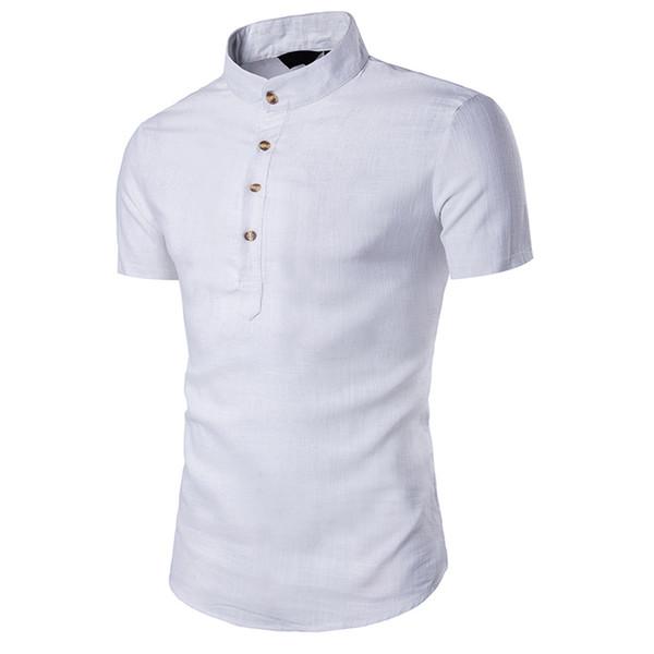 Summer Shirt Men Plus Size Chinese Style Linen Shirts Men Short Sleeve Tops Blouse White Black Modis Clothing Camisa Masculina