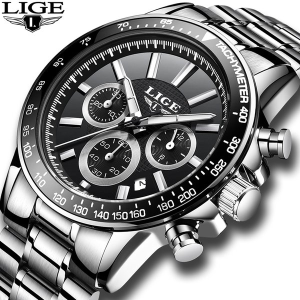 LIGE Relojes para hombre Reloj de cuarzo para hombre Reloj de acero inoxidable Cronógrafo Moda Hombre Relogio masculino