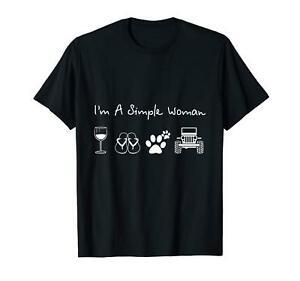 I 039 m A Simple Woman Wine Flip Flop Dog And Funnys Cute BlaFunny T shirt S 6XL