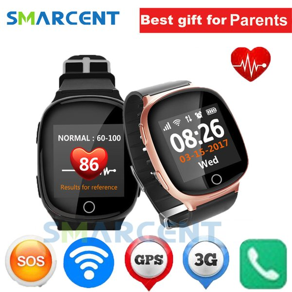 earable Devices Smart Watches D100 Elderly Smart Watch Heart monitor With fall-down alarm function Anti-lost Gps+Lbs+Wifi Tracking for iO...
