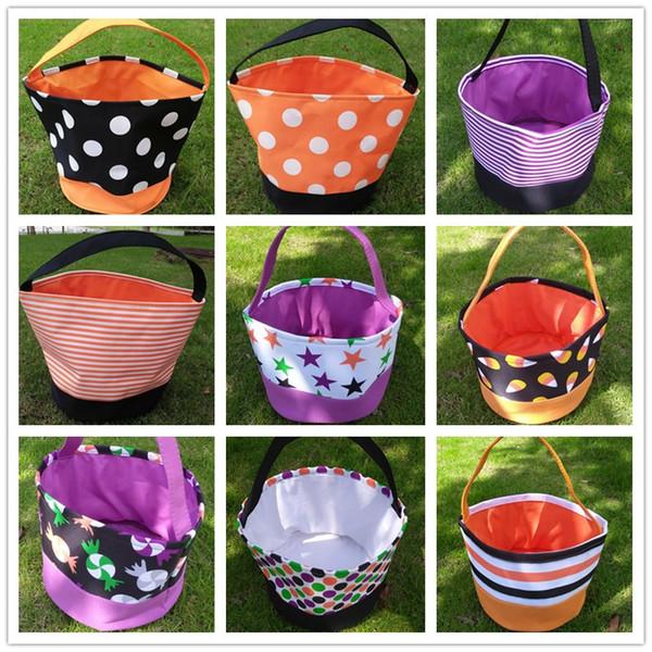 Storage Basket for Halloween Polka Dot Printed Bucket Bags DIY Kids Handbag Totes Candy Egg Stuff Sacks Children Gifts Desk Basket C9206
