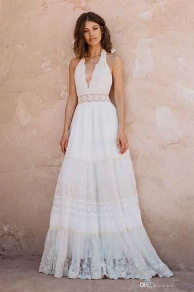 top popular Vintage Bohemian Lace Evening Dresses 2019 Retro Halter V Neck Backless Free Ship Hippie Country Style Bridal Dress 2019