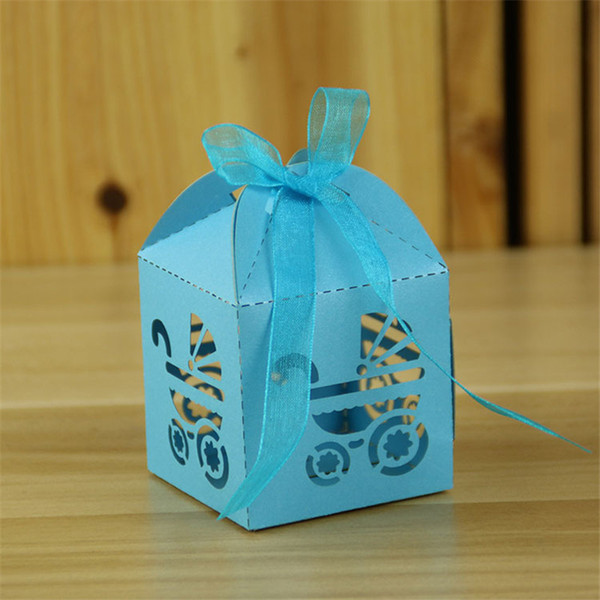 100pcs Laser Cut Hollow Carriage Wedding Favors Candy Gifts Boxes With Ribbon Baby Shower Wedding birthday Party Supplies