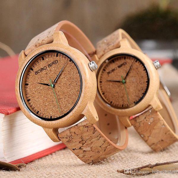 BOBO BIRD Tendance montre de couple poignet montre à quartz en bambou à la main avec bracelet en liège en carré