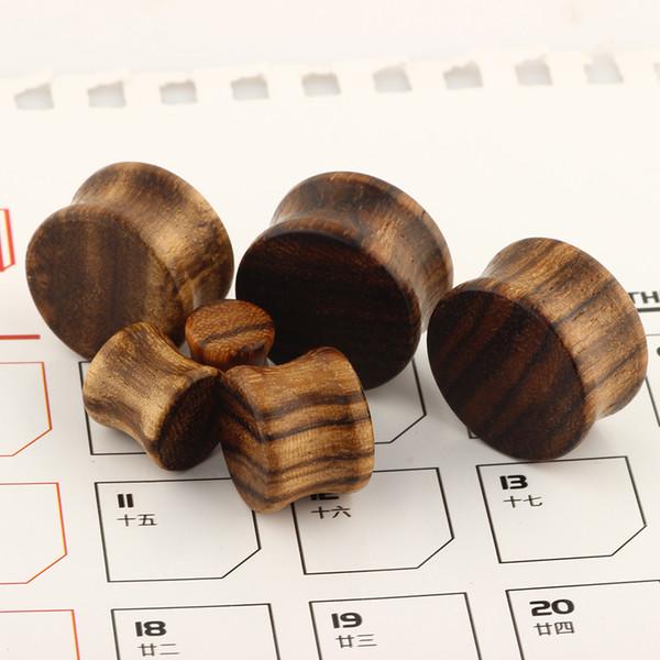 La madera natural doble quema túneles del oído Expander Camilla Orgánica Tapones para los oídos Calibradores Cuerpo Joyería