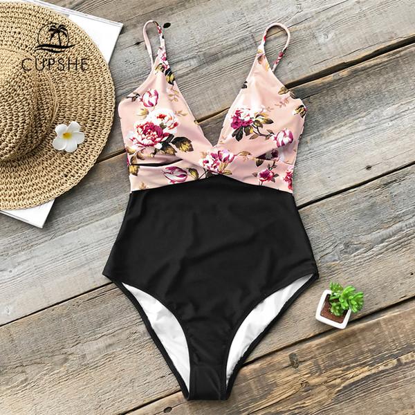 973dd8ffb656 Compre CUPSHE Traje De Baño Floral De Una Pieza Rosa Mujeres Pierna Alta  Corte Sexy Monokini Trajes De Baño 2019 Gril Beach Traje De Baño Traje De  ...