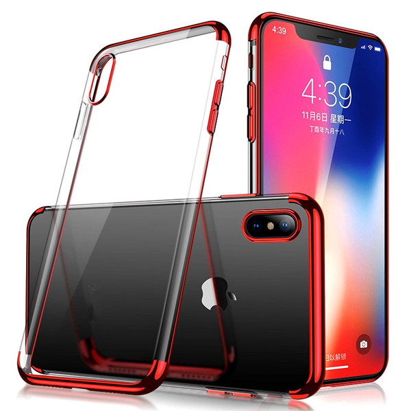 For iphone 11 pro max x x xr 7 8 plating oft clear tpu ca e ilicone tran parent gel cover phone for am ung 10 plu 10e 9 huawei