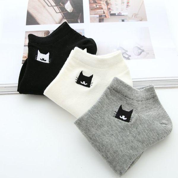 Wholesale 10 Pairs Women Short Socks Cute Cats Pattern Casual Funny Female Socks Low Ankle Socks for Girls Ladies Summer